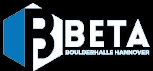 weiß blaues Logo der Beta Boulderhalle in Hannover