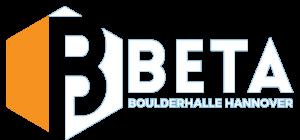 Das Logo in weiß der Beta Boulderhalle Hannover